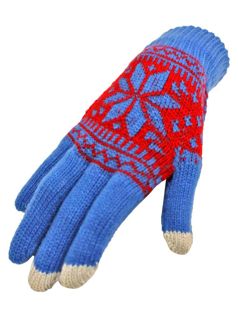 Blue & Red Snowflake Design Texting Gloves