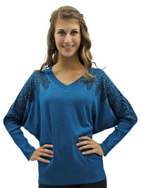 V-Neck Sweater With Filigree Print Shoulders