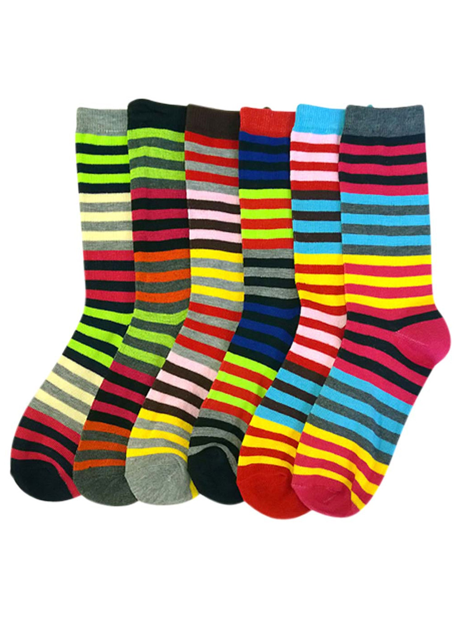 Bright & Colorful Striped Womens 6 Pack Assorted Crew Socks