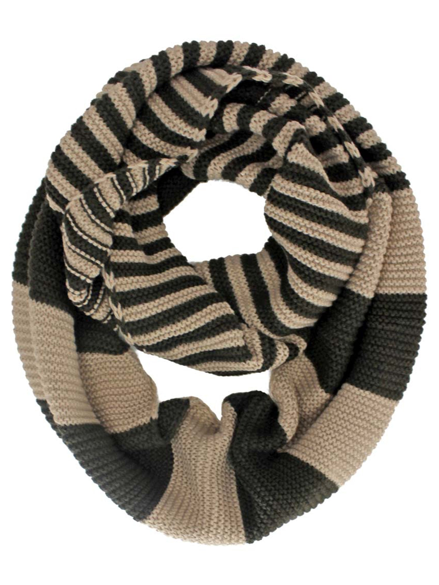 Knit Striped Infinity Scarf