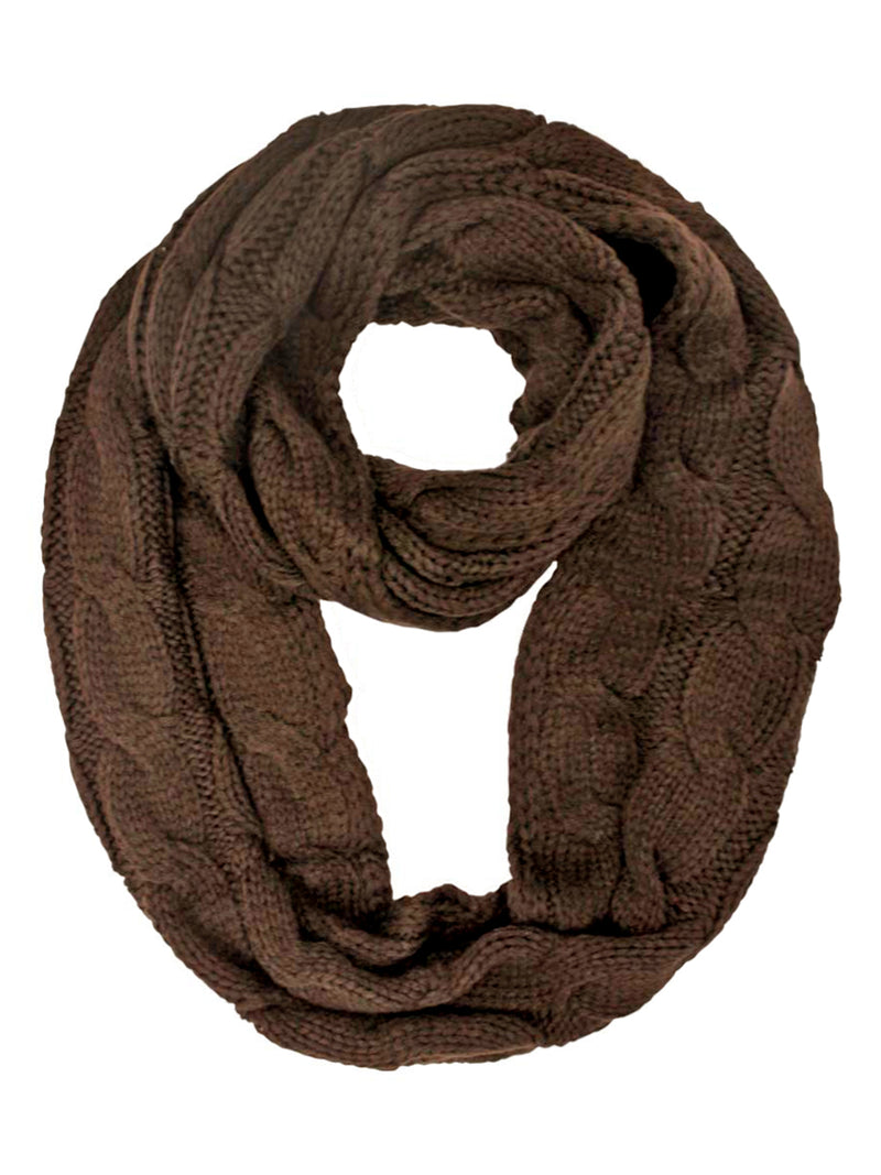 Thick Cable Braid Knit Infinity Scarf