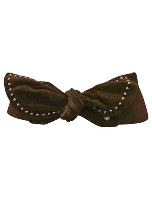 Elastic Cinch Waist Belt With Suede Studded Bow