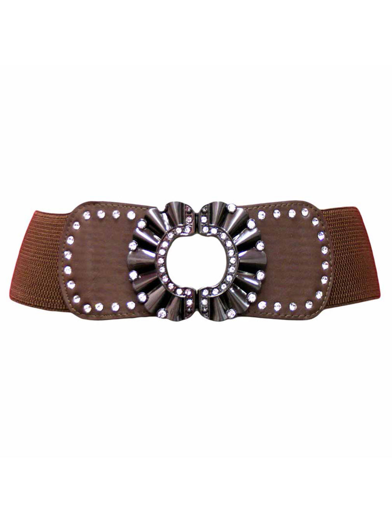 Wide Elastic Waist Belt With Rhinestone Metal Buckle