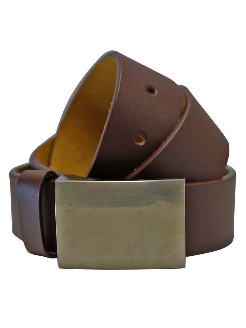 Men's Leather Belt With Chrome Buckle