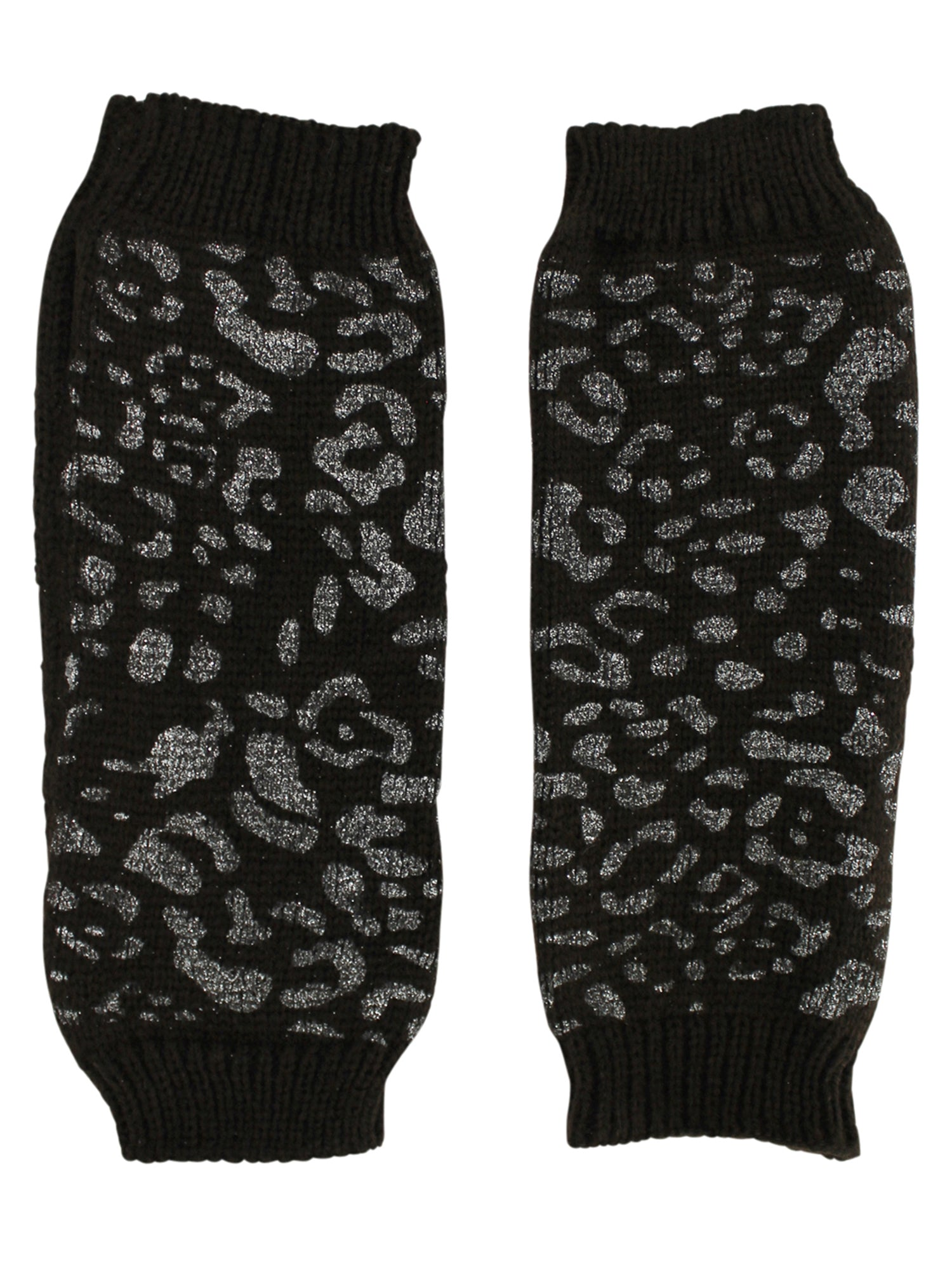 Metallic Leopard Fingerless Arm Warmer Gloves