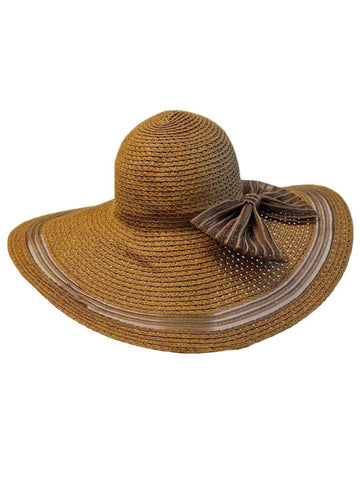 Brown Sun Hat With Shear Trim And Bow