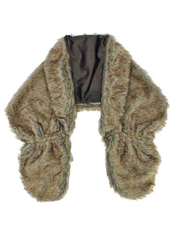 Faux Fur Plush Shawl Wrap With Satin Lining