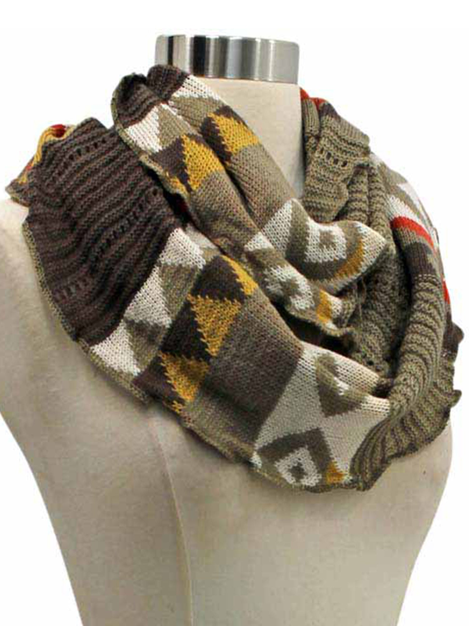 Colorful Knit Ring Infinity Scarf With Ruffled Edge