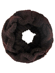 Brown Twisted Cable Knit Snood Infinity Scarf