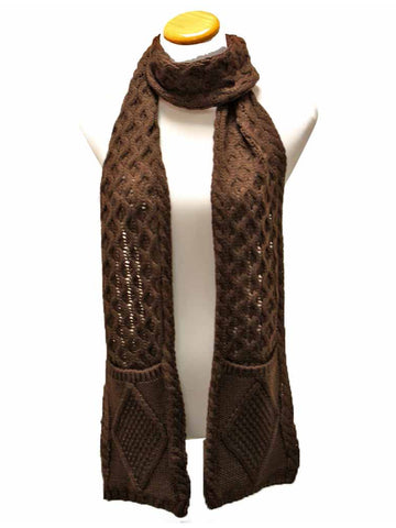Classic Knit Unisex Winter Scarf With Pockets