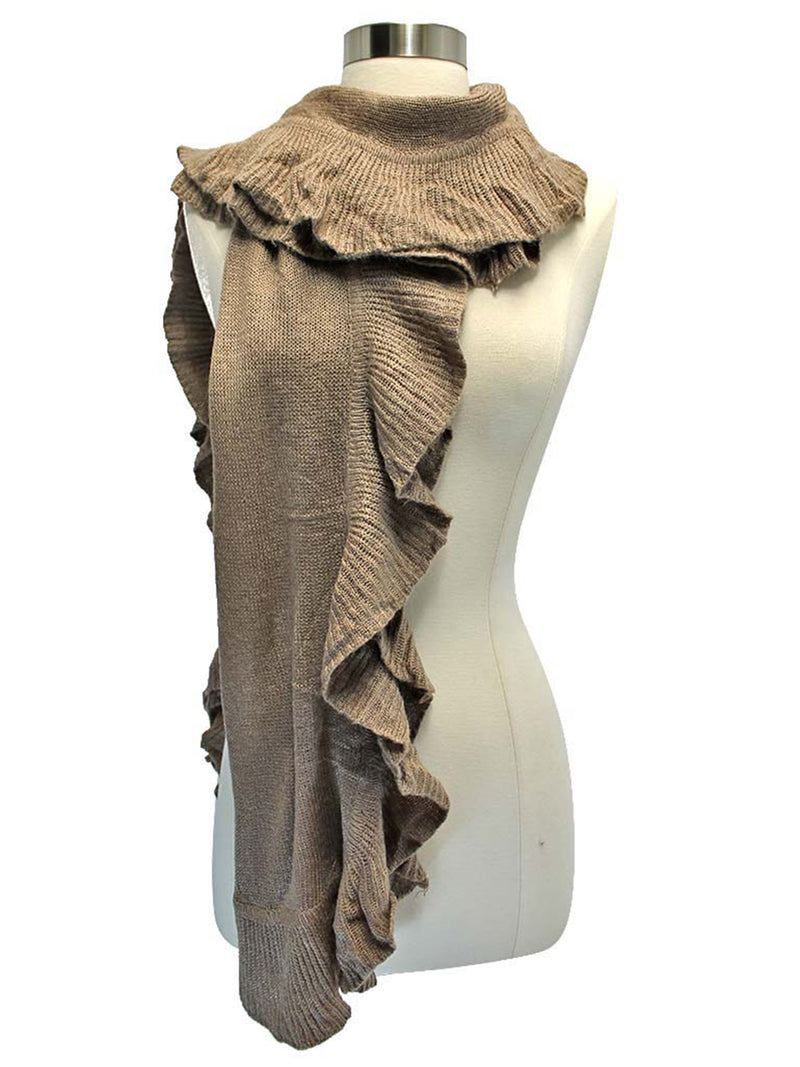 Knit Scarf Wrap With Ruffle Edge