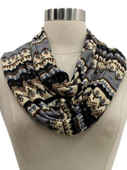 Brown Multicolor Winter Holiday Pattern Circle Infinity Scarf