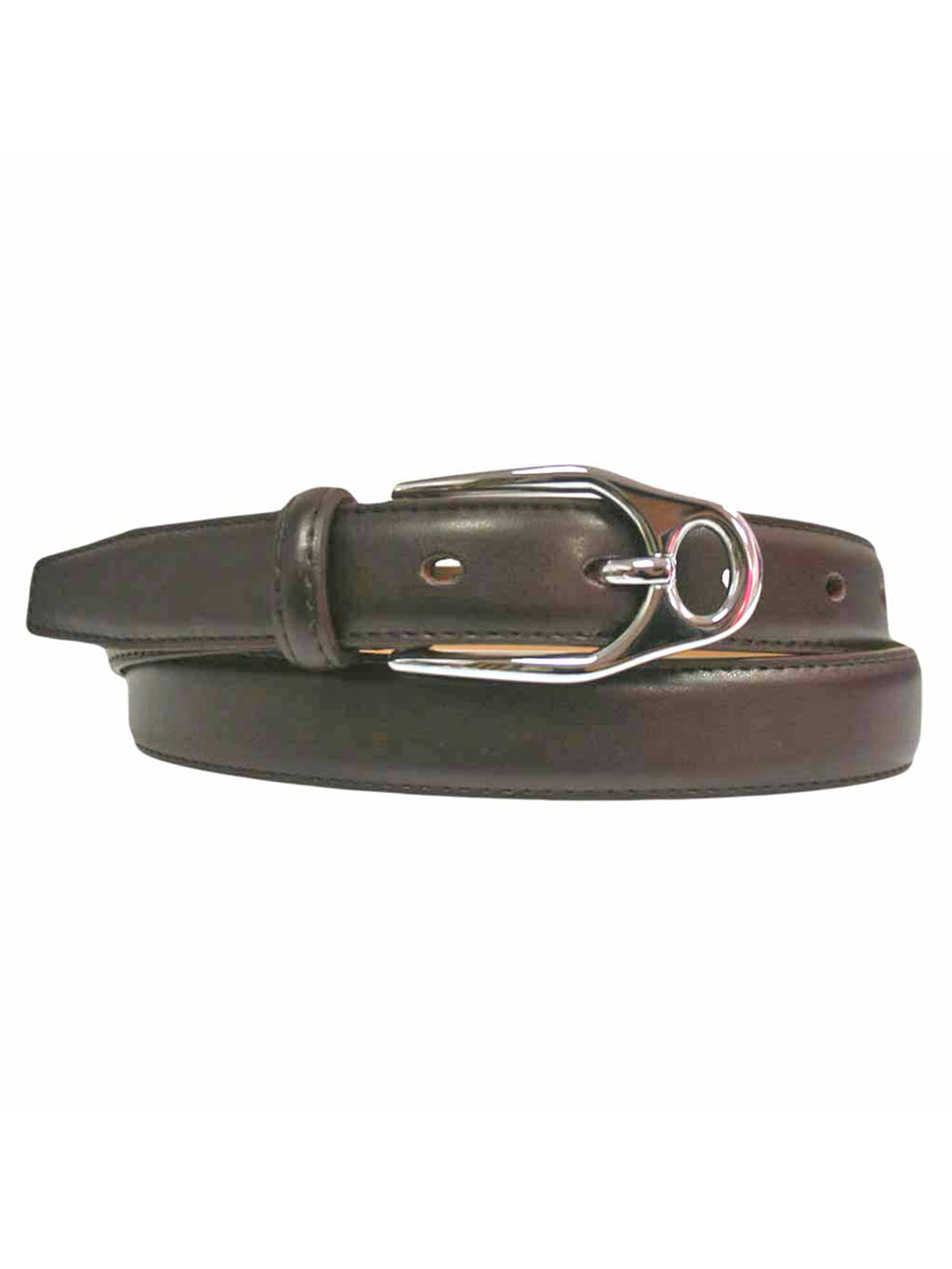 Slim Leather Belt With Silver Buckle