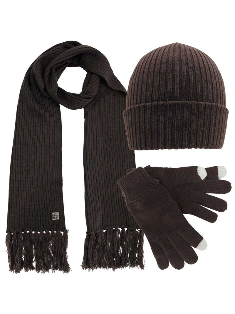 Ribbed Knit Men's 3 Piece Hat Scarf & Texting Gloves Set