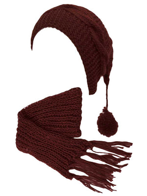 Chunky Knit Pom Pom Ponytail Winter Hat & Scarf Set
