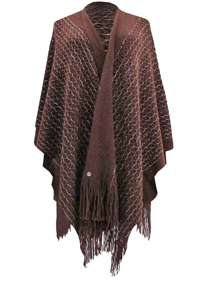 Metallic Knit Shawl Wrap