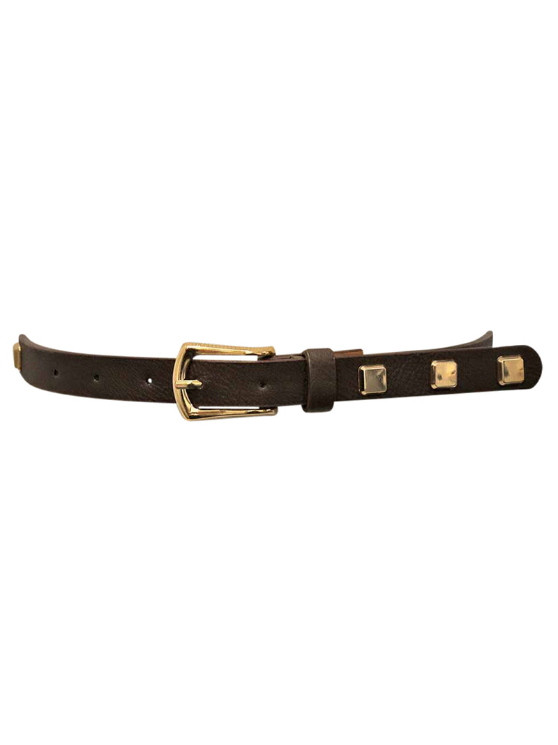 Skinny Dress Belt With Square Gold Studs