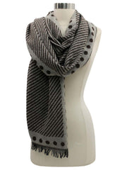 Stripe & Polka Dot Pattern Winter Knit Oversize Blanket Scarf
