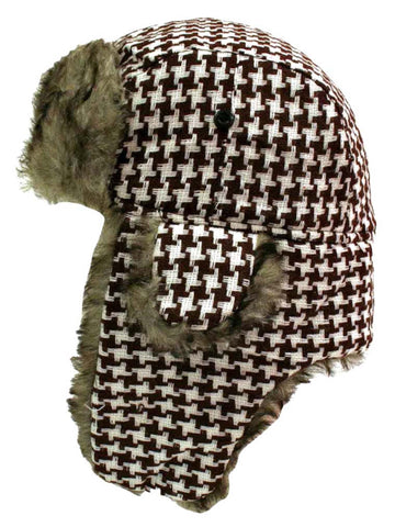 922d100e5ba Brown   White Houndstooth Faux Fur Lined Aviator ...
