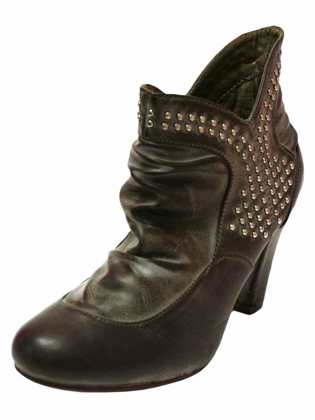 Faded Brown Studded Retro Ankle Booties For Women