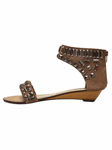 Studded Ankle Strap Flat Womens Sandals