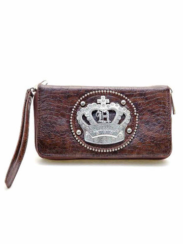 Brown Rhinestone Crown Organizer Wristlet Wallet