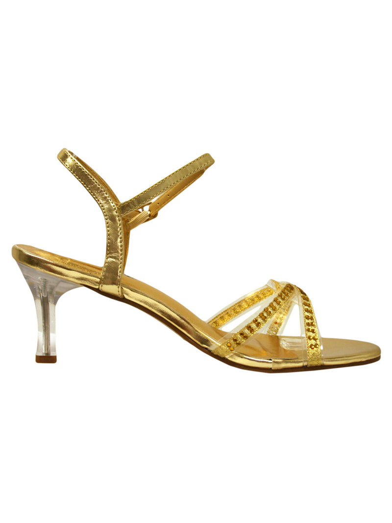 Gold Sandal Heels For Women With Rhinestones