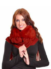 Faux Fur Long Winter Scarf With Fringe