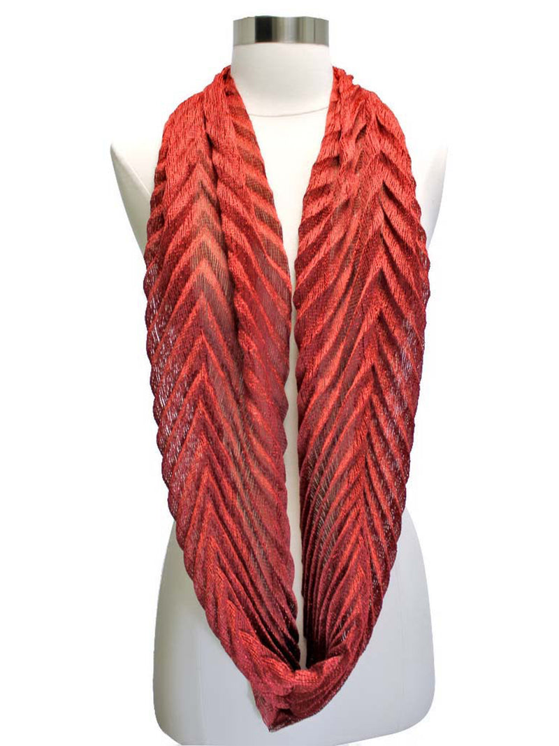 Metallic Pleated Circular Infinity Scarf