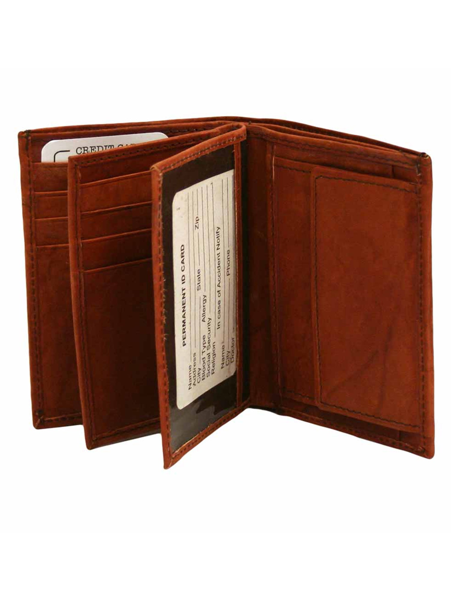 Leather Mens Bifold Wallet With Coin Pocket