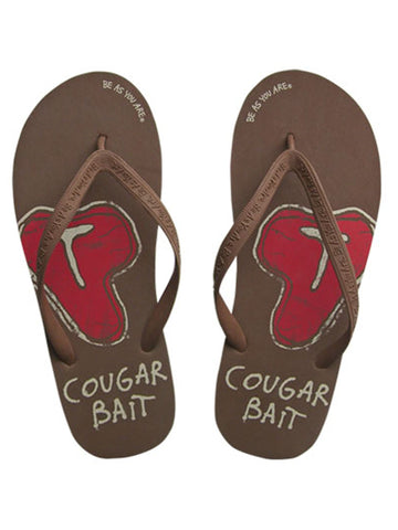 Cougar Bait Men's Brown Novelty Flip Flops Size Medium