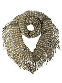 Striped Winter Infinity Scarf With Fringe