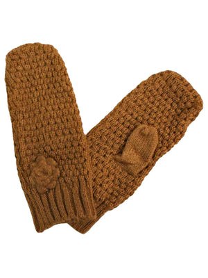 Crochet Knit Mittens With Rosette
