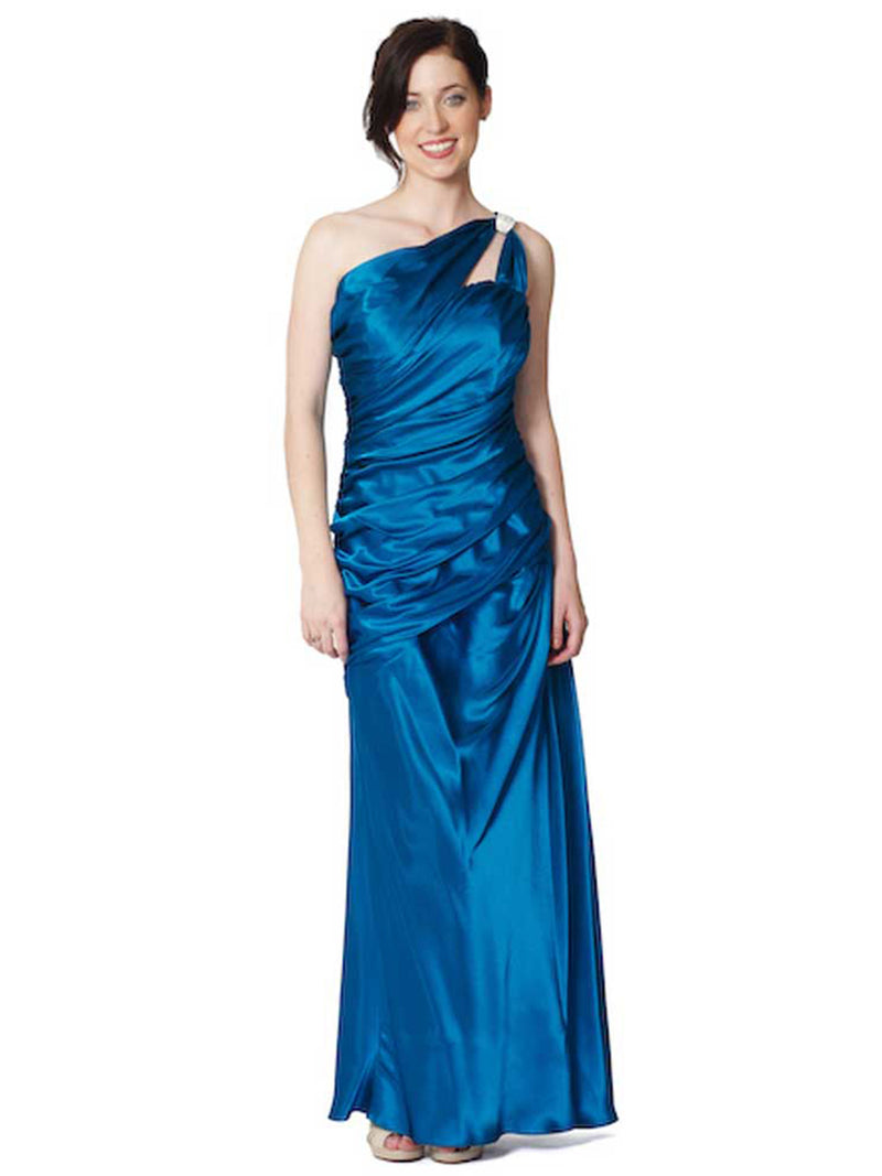 Teal Blue Satin One Shoulder Gathered Gown