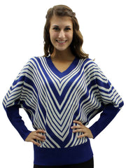 Chevron Striped V-Neck Sweater With Dolman Sleeves