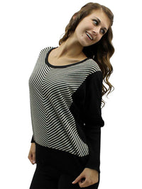 Chevron Striped Crew Neck Sweater With Dolman Sleeves