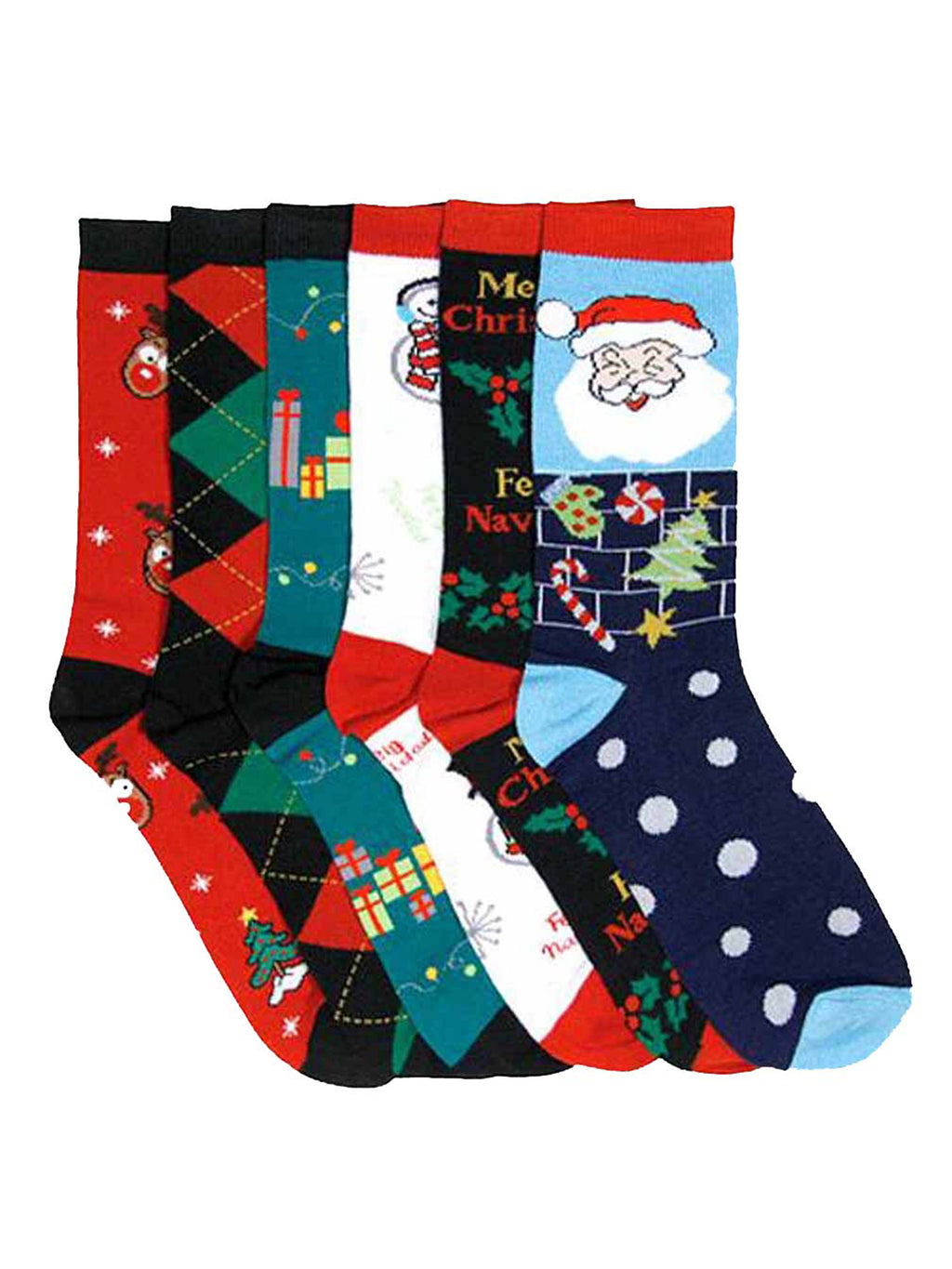 Christmas Holiday Womens Socks Assorted 6 Pack