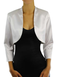 Dressy Satin 3/4 Sleeve Bolero Shrug Jacket