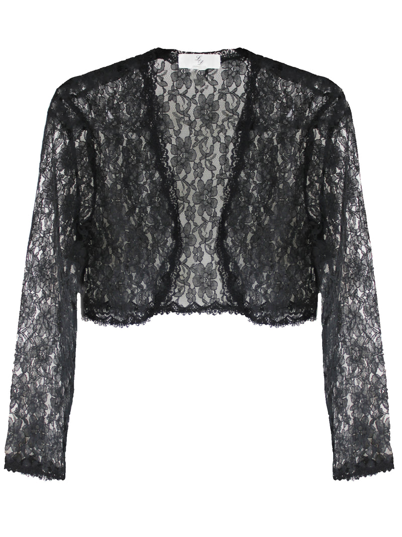 Long Sleeve Dressy Lace Cropped Bolero Shrug Jacket