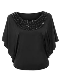 Womens Blouse With Sequin Scoop Neckline