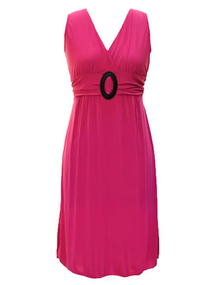 Sleeveless Empire Waist Midi Dress With Oval Buckle