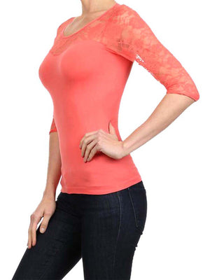 Lightweight Three Quarter Sleeve Top With Lace Trim