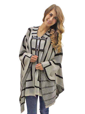 Beige & Black Thick Knit Poncho Style Shawl With Hood