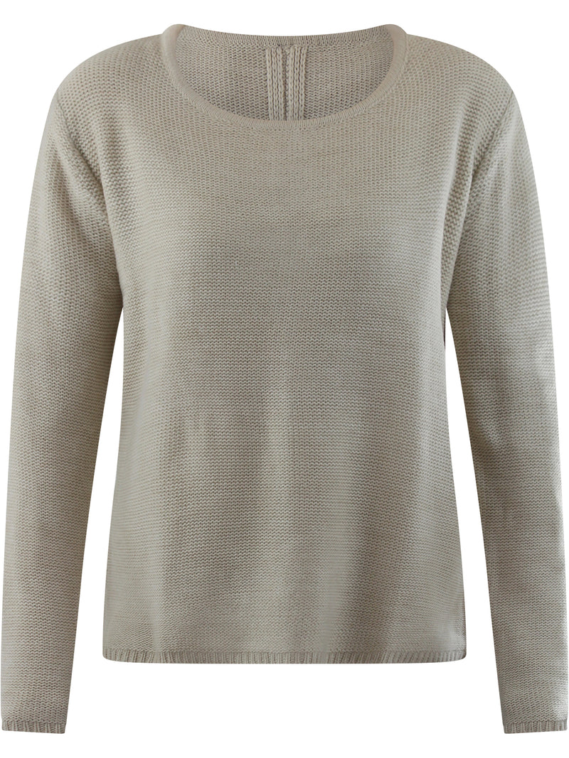 Beige Classic Knit Sweater With Chiffon Zippered Back