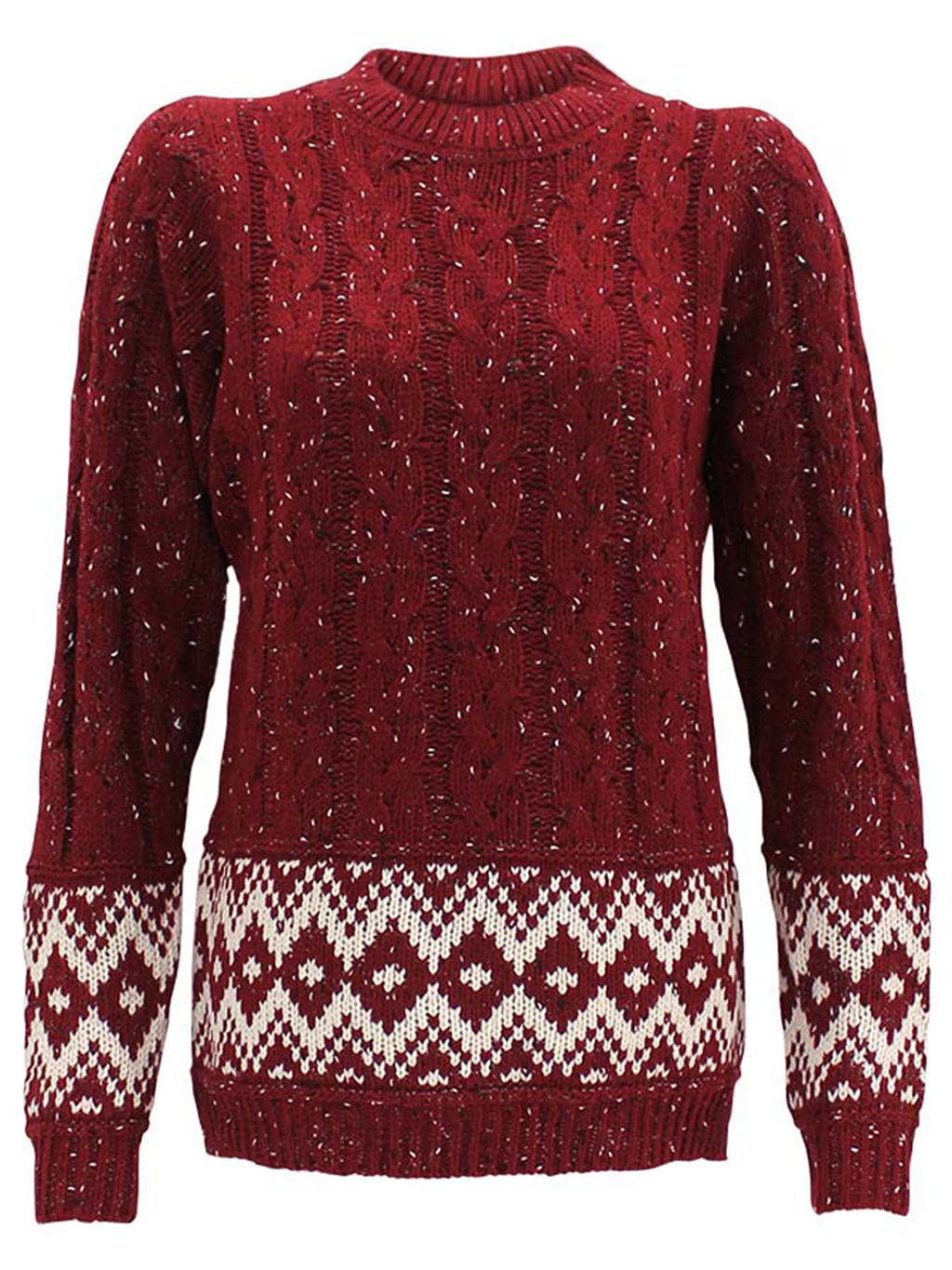 Marled Cable Knit Long Sleeve Sweater