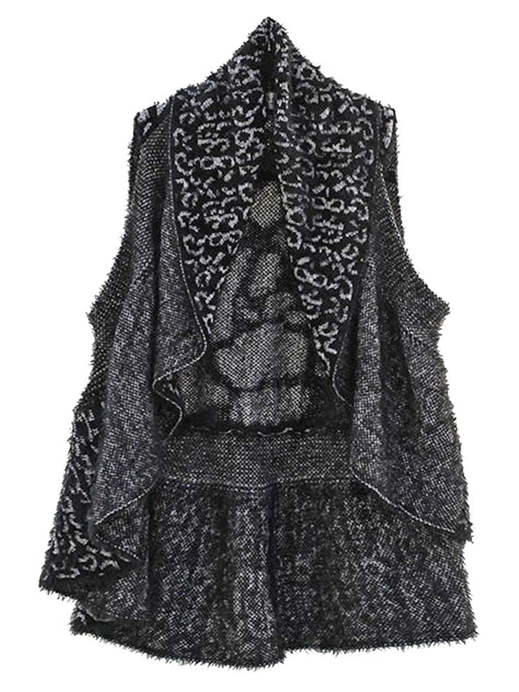 Animal Print Fuzzy Knit Sweater Vest