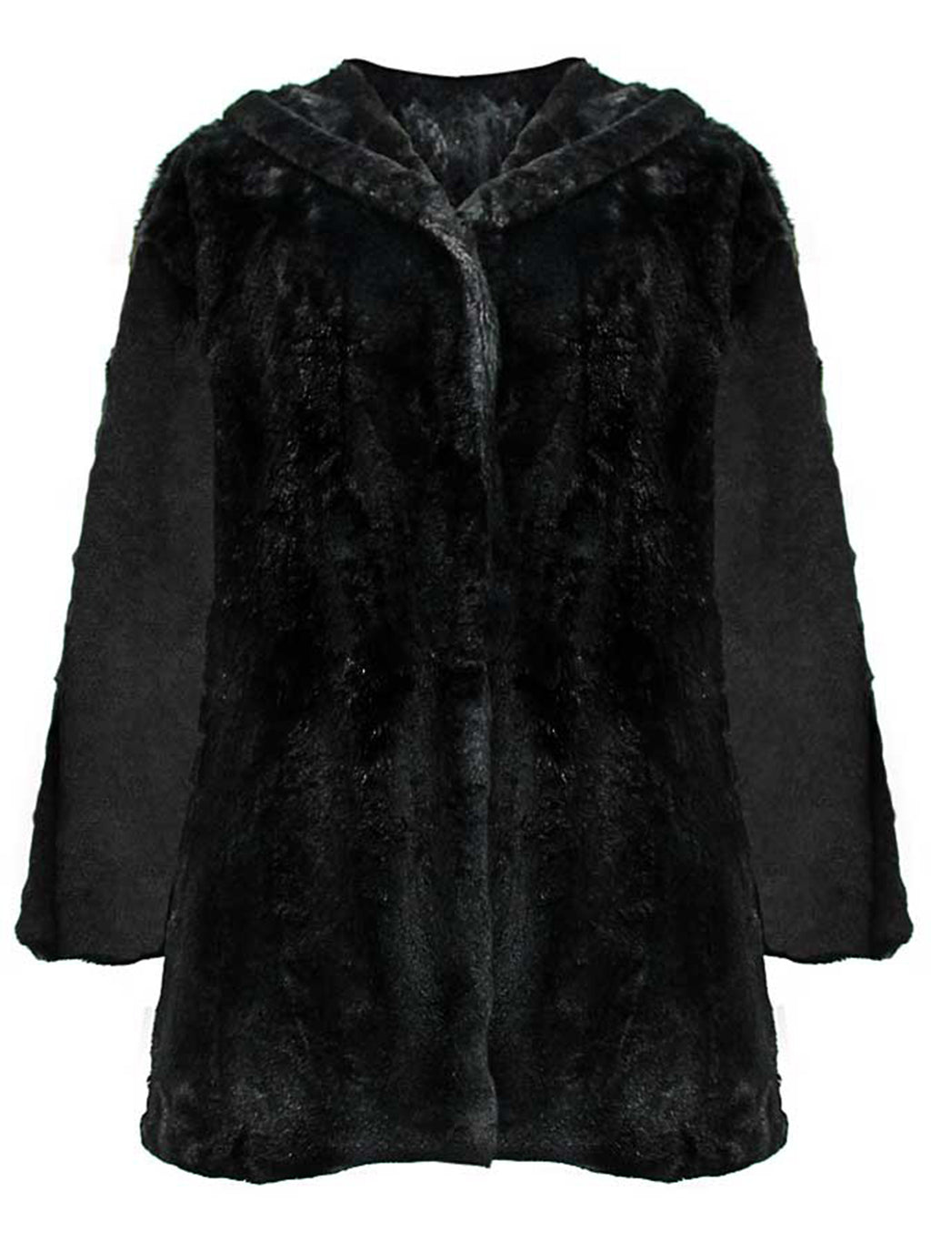 Faux Fur Plush Swing Jacket With Hood