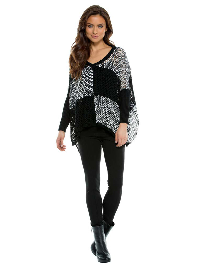 Black & White Checkered Knit Shrug Pullover