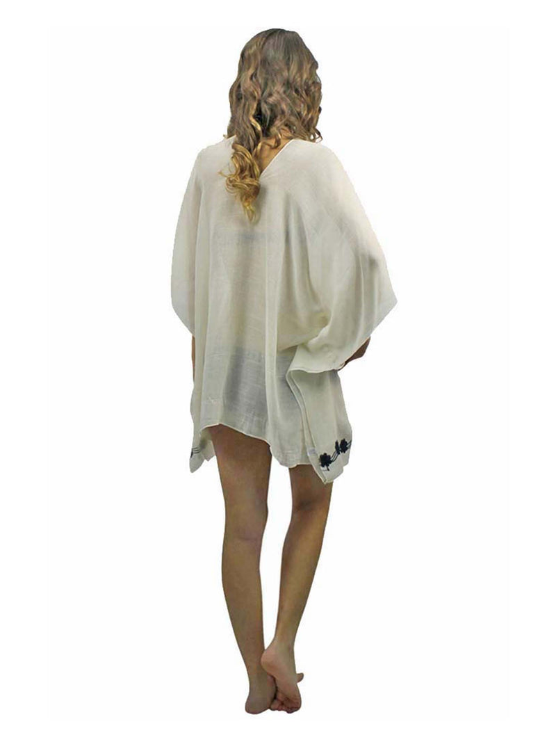 Embroidered Sheer White Beach Cover Up Tunic Top