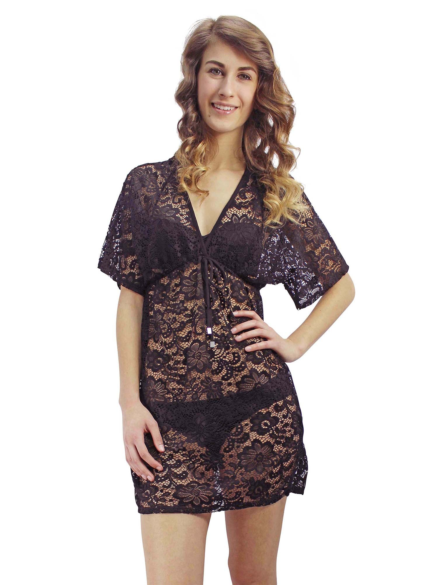 Black Sheer Lace V-Neck Short Sleeve Tunic Cover-Up